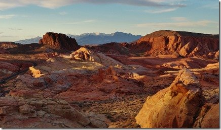 Valley of Fire lit up by the setting sun