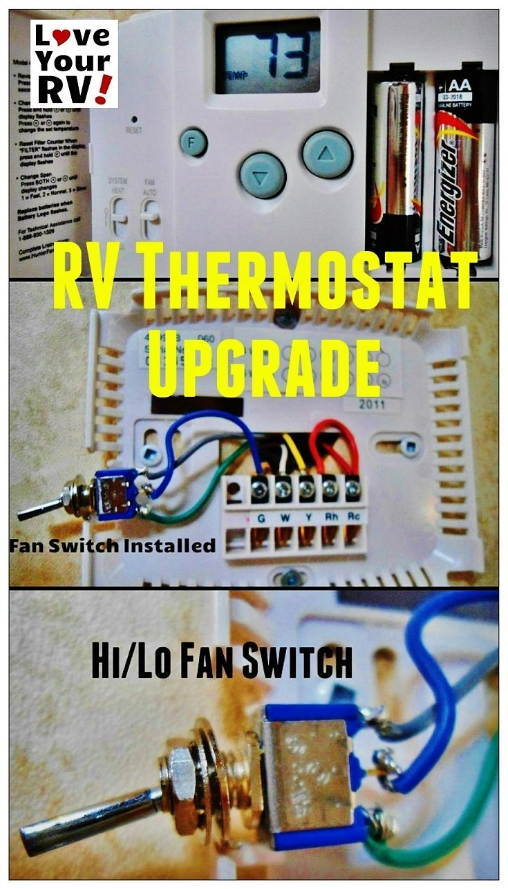 Hunter 42999b Digital Rv Thermostat Upgrading The Oem Winnebago Ac Wiring Upgrade Love Your Blog Http