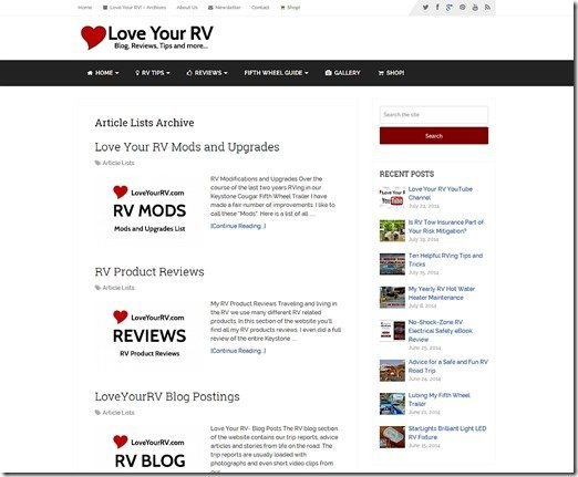 New Love Your RV theme screenshoot