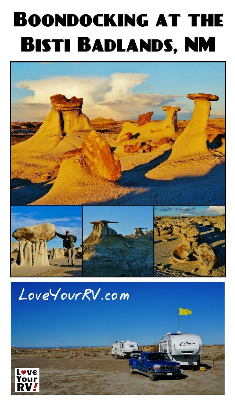 Camping at Bisti Badlands wilderness BLM in New Mexico | Love Your RV! blog - http://www.loveyourrv.com/