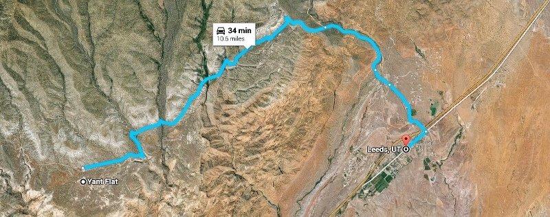 Yant Flat Utah to Leeds UT Google Maps