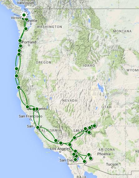 Snowbirding Trip 2015 2016 Travel Map by Raytronx Travellerspoint