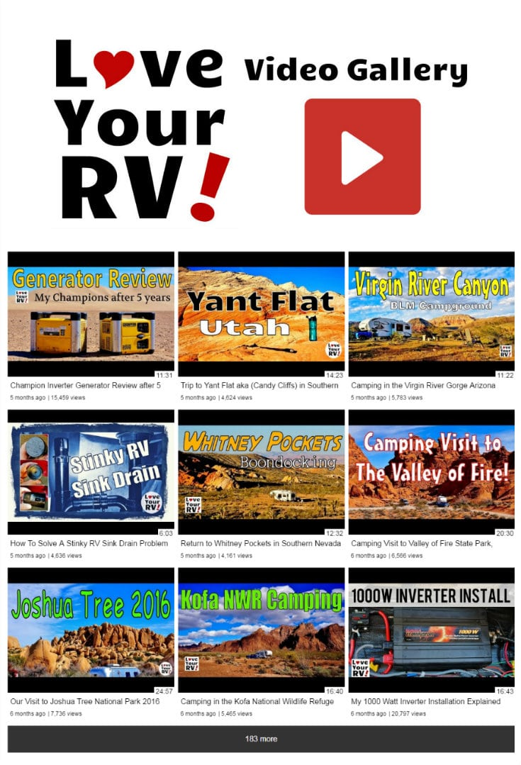 The Love Your RV Video Gallery Archive Page - http://www.loveyourrv.com/love-rv-video-gallery/ #RVing #RVvideos