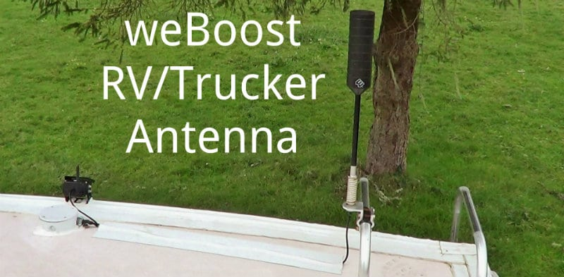 weBoost Truckers Antenna Mounted on RV Ladder