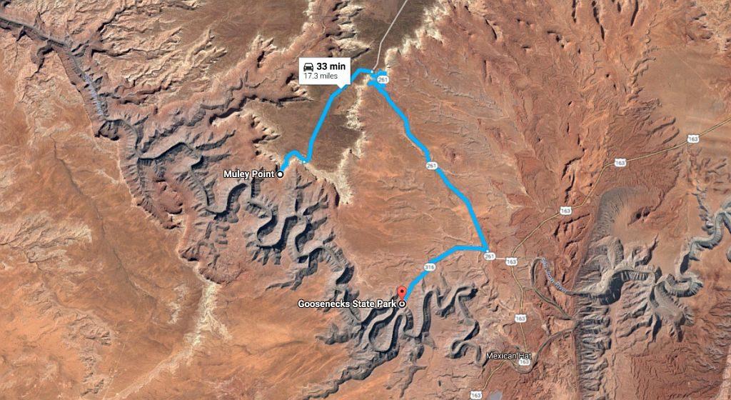 Google Maps Goosenecks to Muley Point Drive