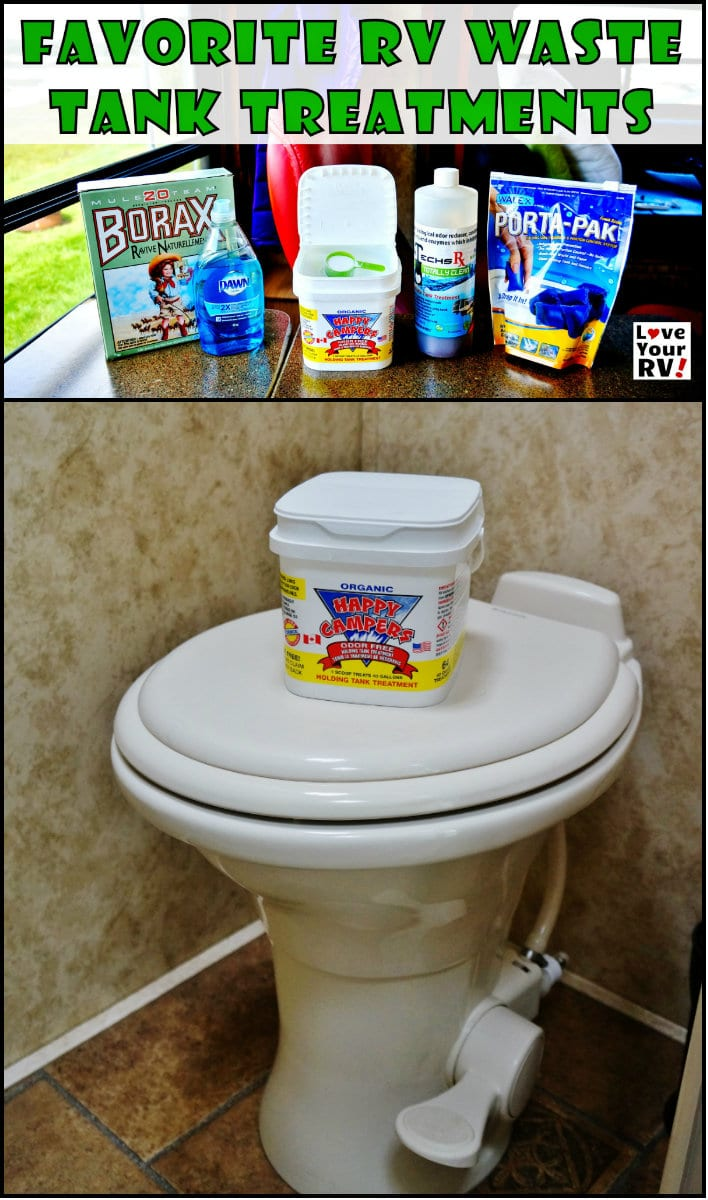Favorite RV Waste Holding Tank Treatments from the fulltimer RVers at the Love Your RV blog - http://www.loveyourrv.com