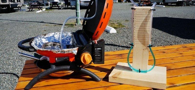 DIY Manometer testing RV gas system through BBQ port