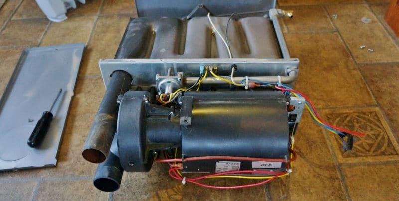 Suburban SF-30F RV furnace disassembled