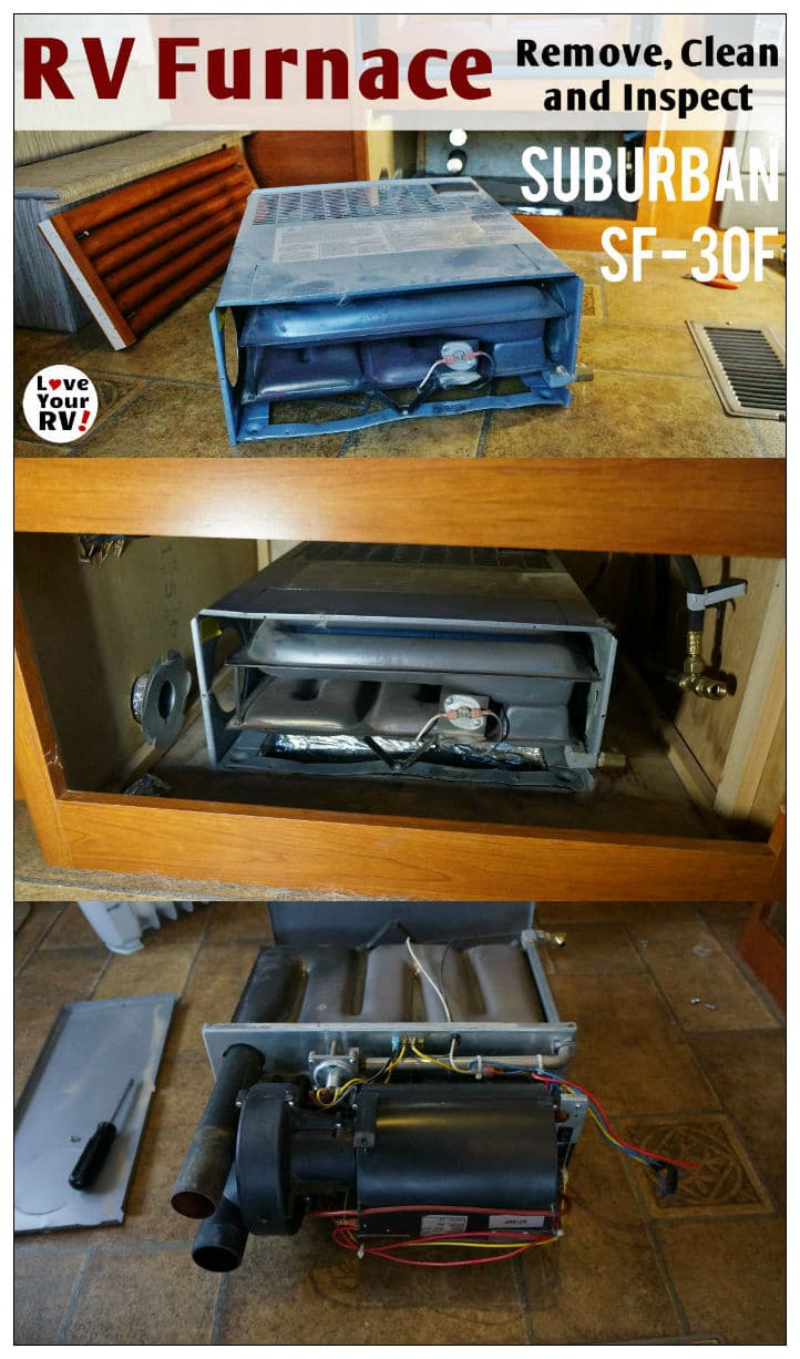 Suburban SF-30F RV furnace removal cleaning and inspection by the Love Your RV blog - http://www.loveyourrv.com