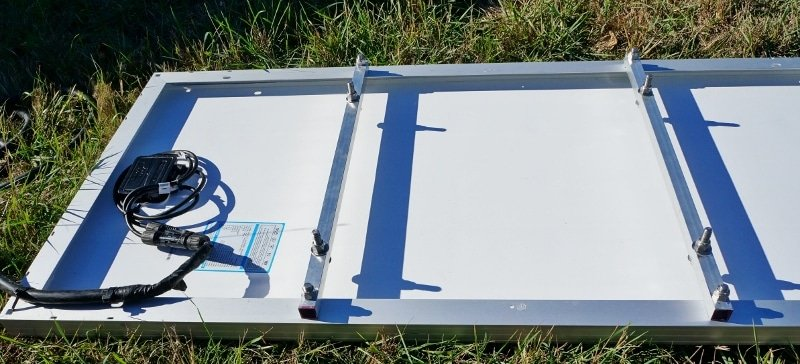 Remote solar panel mounting hardware view