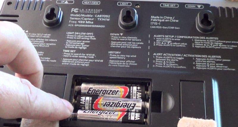 Backside of display showing batteries