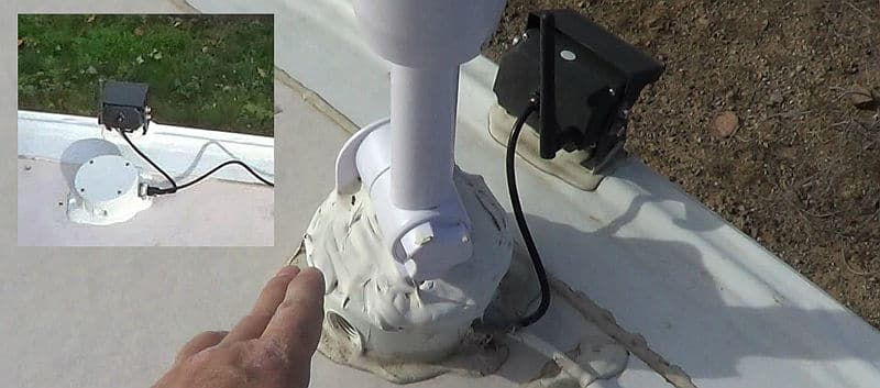 Weather Station Mounted on the RV Roof Junction Box