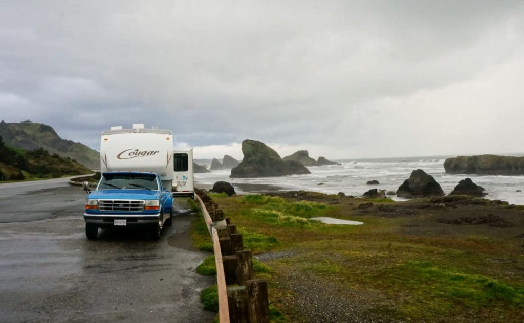 Parked a Myers Creek Beach Viewpoint Highway 101 Oregon