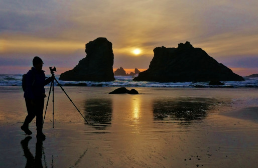 Anne photographing Bandon Beach