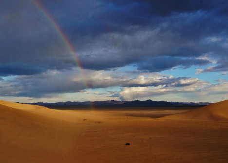 Rainbow at the Dumont Dunes