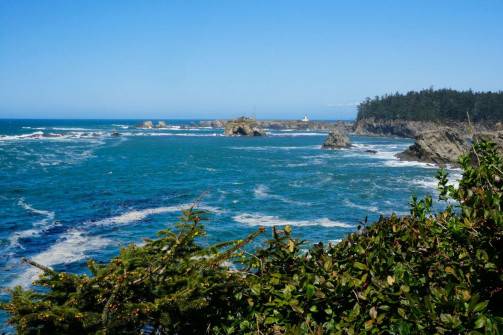 View of Arago Lighthouse near Shoreacres State Park on the Oregon Coast