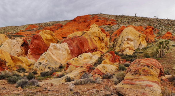 Rainbow of colored sandstone