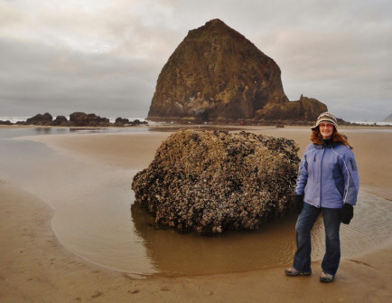 Anne on our December 2013 visit to Cannon Beach