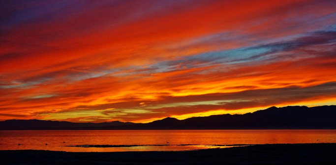 Colorful Salton Sea sunset