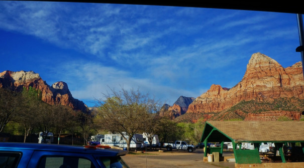 View from rig Zion canyon campground