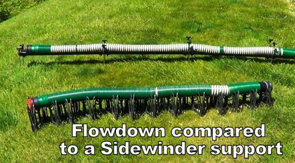 Flow Down hose support compared to Sidewinder