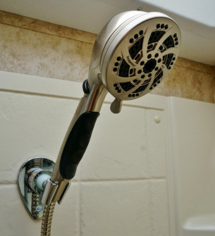 Fury RV shower head installed