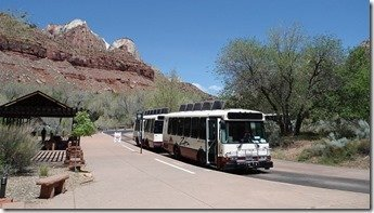 One of the buses that take you up and down the Zion Canyon