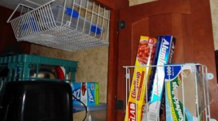 Utilize RV space with wire storage baskets