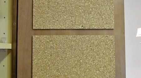 Cork board on RV cupboard door