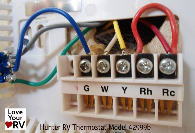 hunter 42999b digital rv thermostat upgrading the oem thermostat rh loveyourrv com Basic Thermostat Wiring installing a thermostat wiring