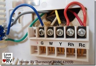 Hunter RV Thermostat Model 42999b - Hookup Wires
