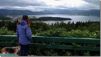 Anne looks out on Bonnie Bay, Newfoundland