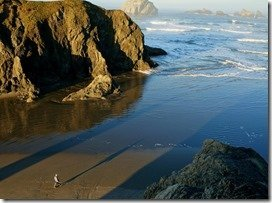 Anne walking Bandon Beach