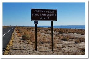 Corvina Beach Sign on Hwy 111