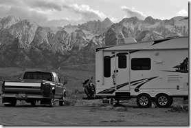 Camper with Mt. Whitney looming above