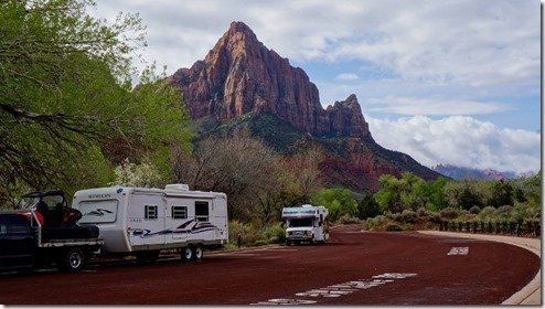 RVs parked in Zion National Park, Utah