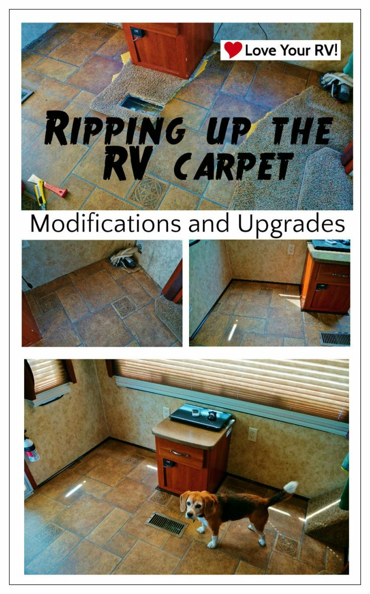 Ripping out the RV carpet, remodel ideas from the Love Your RV! blog - https://www.loveyourrv.com/ #RVing #Mods