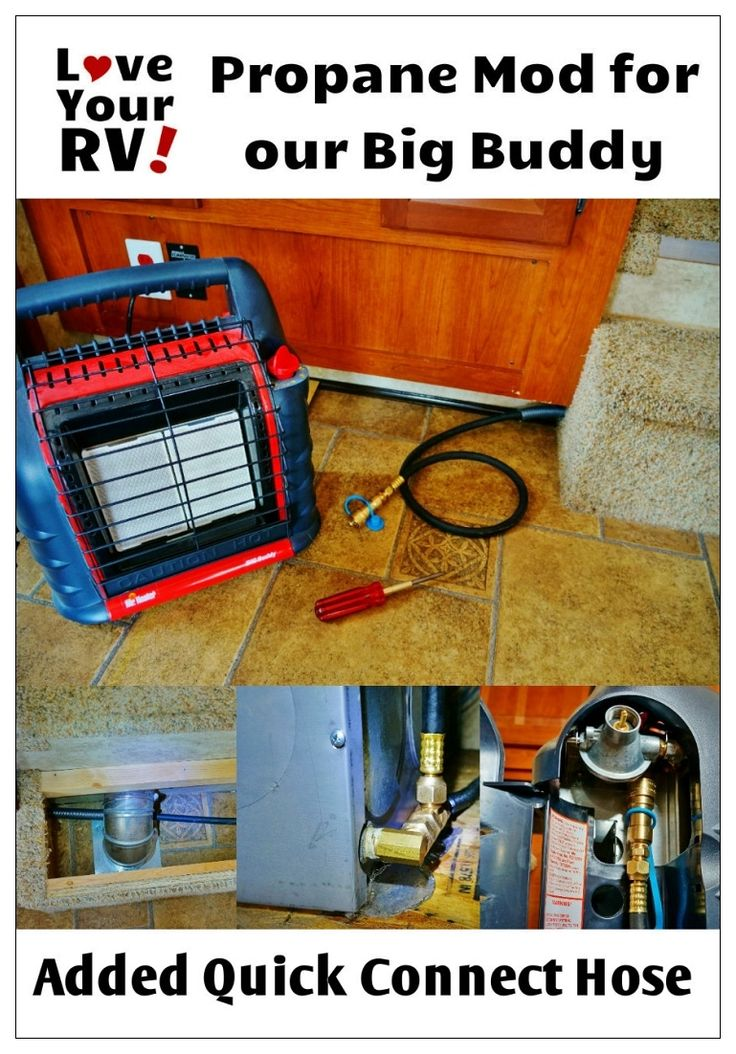 Mr. Heater Big Buddy Hooked To My RVs LP Gas Line | Love Your RV! blog - https://www.loveyourrv.com/ #RV #Mod