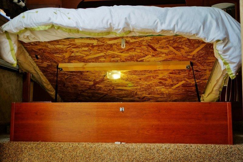 Underbed storage light installed