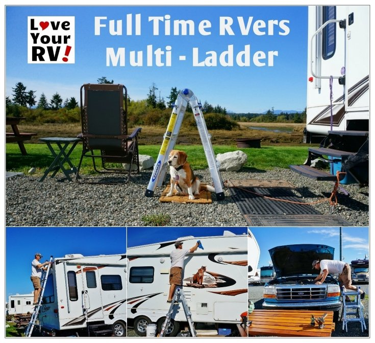 Finally Picked Myself Up a Proper Ladder for Fulltime RVing Werner MT-13 foldable telescoping ladder - Love Your RV! blog - https://www.loveyourrv.com/ #RVing #fulltimer