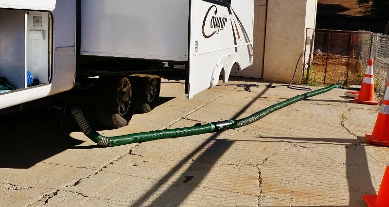 Waste Master Sewer Hose Stretched Out
