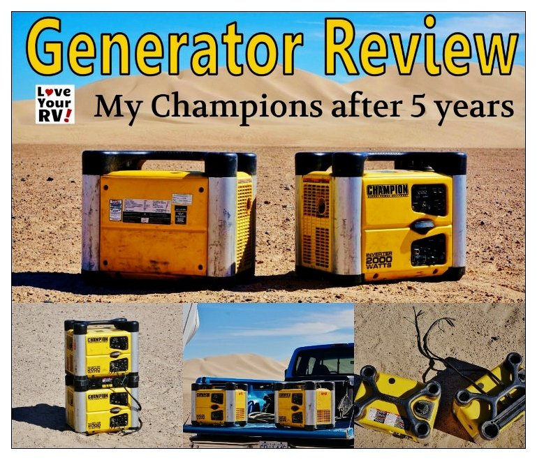 Champion Generator Review after 5 years of RVing use by the Love Your RV! blog - https://www.loveyourrv.com/ #camping #RVing #boondocking