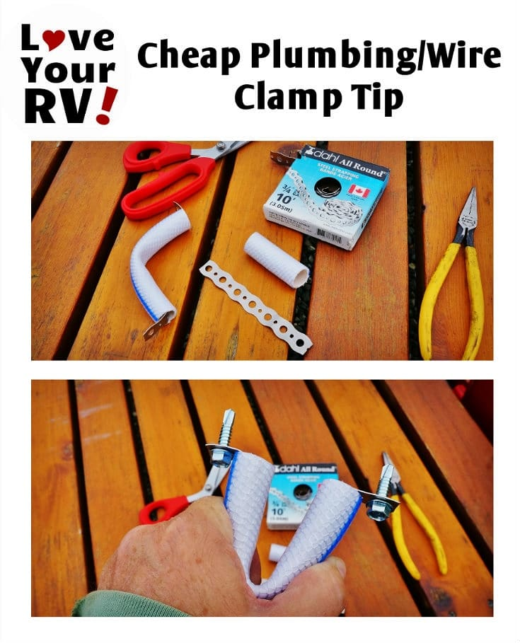 Love Your RV! Tips and Tricks - Cheap Plumbing and Wire hanger clamp tip using an old recycled fresh water hose - https://www.loveyourrv.com/ #RVtips #DIY