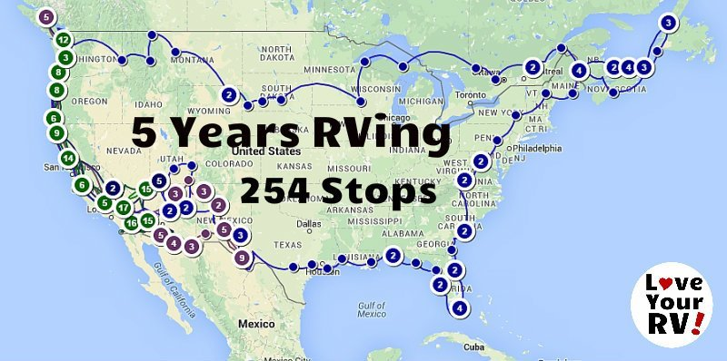 Map of our 5 years of full time RVing