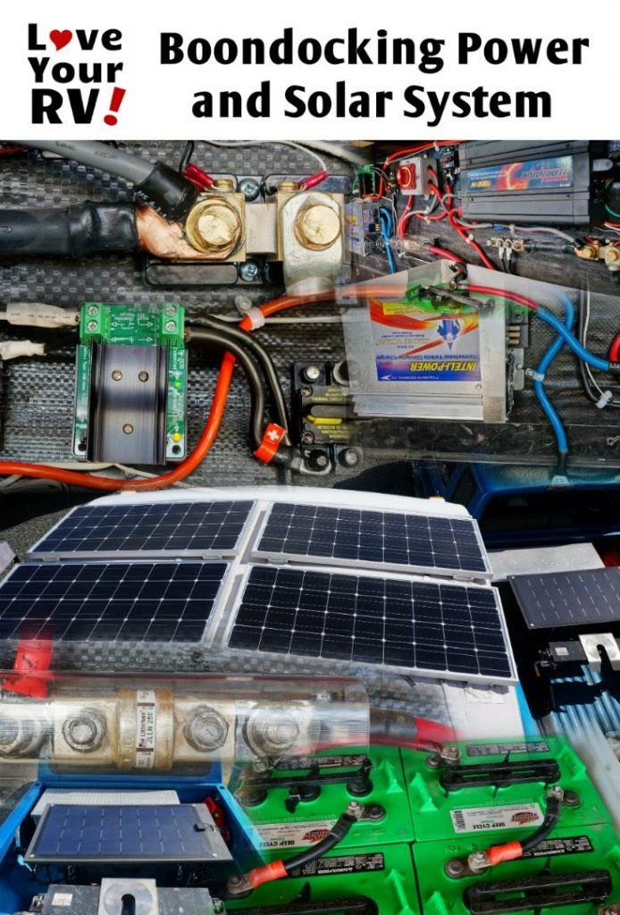 Details of our 500 watts 464 AH DIY Boondocking Power and Solar System by the Love Your RV blog - https://www.loveyourrv.com/ #RVing #solar #DIY