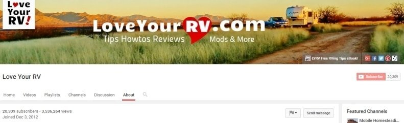 Love Your RV YouTube Banner