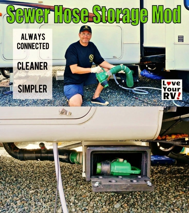 Modifying the RVs sewer output plumbing and adding a hose storage box for my Waste Master sewer system - https://www.loveyourrv.com/ #RVing #RVmod