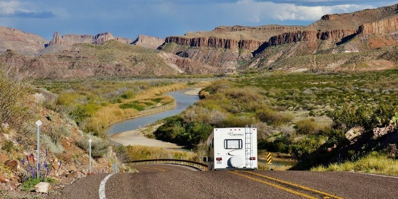 RV on the road Rio Grande