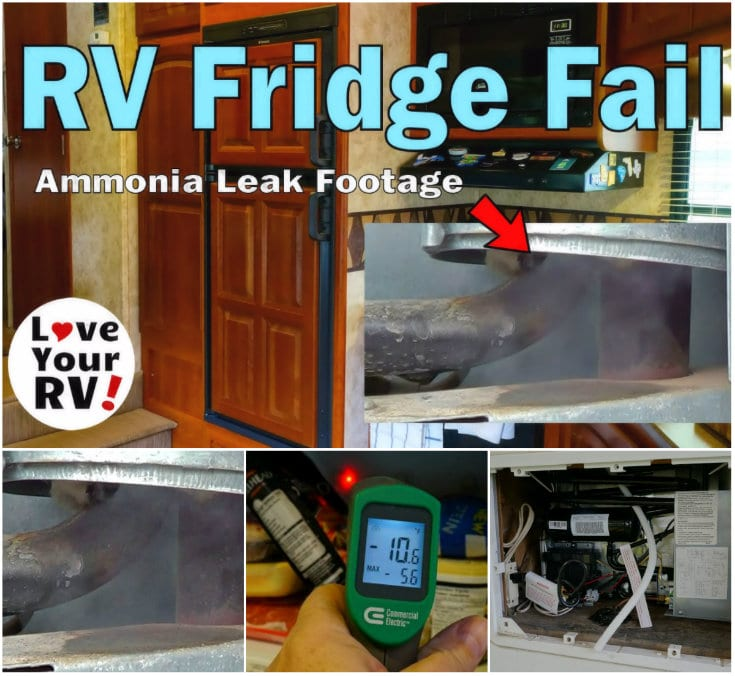 Blog post detailing the failure of our RVs refrigerator. The ammonia leaked out of the cooling unit - https://www.loveyourrv.com/fridge-meltdown-extended-rv-warranty-s/