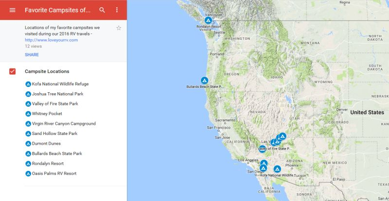 Love Your RV! - Favorite Campsites of 2016 on Google Maps